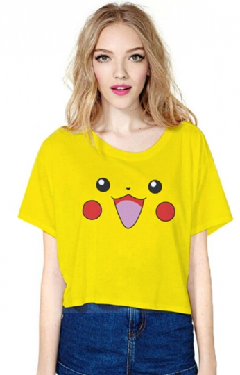 Yellow Lovely Pikachu Printed Ladies T-shirt