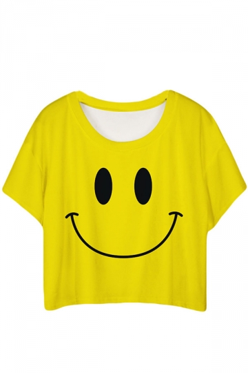 Yellow Lovely Smile Printed Ladies T-shirt
