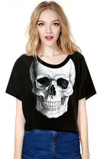Black Ladies Crew Neck Skull Printed T-shirt