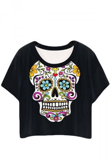 Black Ladies Stylish Skeleton Printed T-shirt