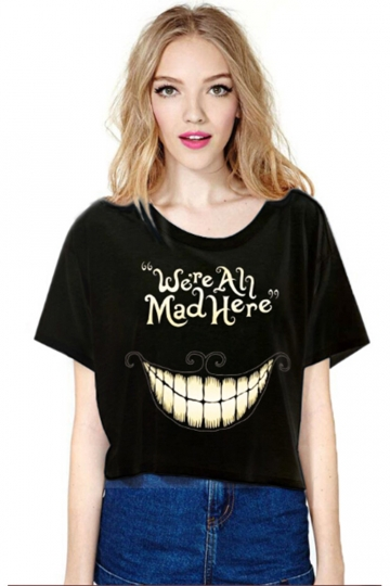 Black Smile Printed Ladies T-shirt