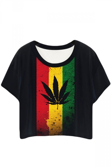 Black Stylish Maple Leaf Printed Ladies T-shirt