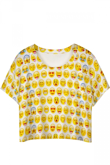Yellow Cute Emoji Printed Ladies T-shirt