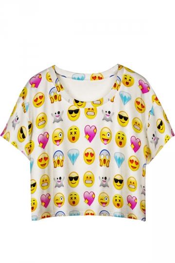 White Cute Emoji Printed Ladies T-shirt