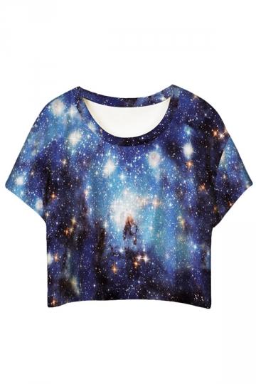 Blue Stylish Galaxy Printed Ladies T-shirt