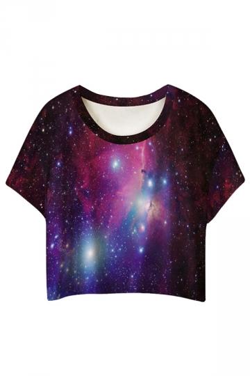Blue Fashion Galaxy Printed Ladies T-shirt