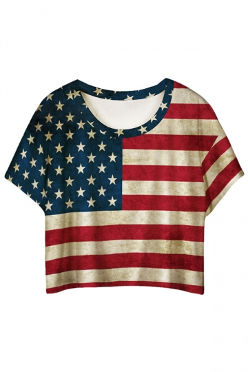 Red American Flag Printed Ladies T-shirt
