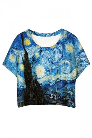 Blue Village Printed Loose Ladies T-shirt