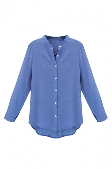 Womens Elegant Plain Stand Collar Long Sleeve Blouse Blue