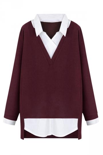 Womens Plus Size Turndown Collar False Two-piece Blouse Ruby