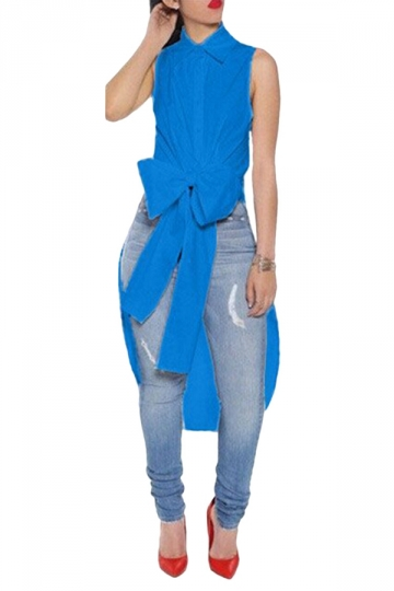 Ladies Bow Tail Sleeveless Chic Blouse Blue