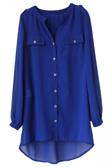 Womens Chiffon Single-breasted Chic Blouse Watermelon Sapphire Blue