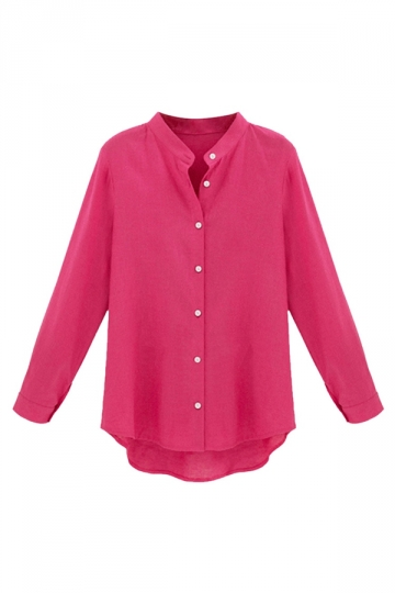 Womens Plus Size Stand Collar Sexy Blouse Rose Red