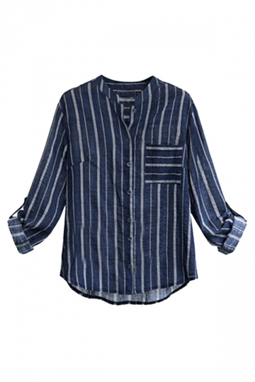 Womens Plus Size Striped Casual Blouse Navy Blue