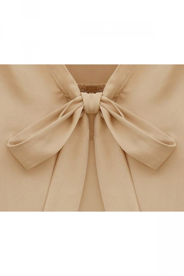 Womens Bow Casual Slimming Blouse Khaki