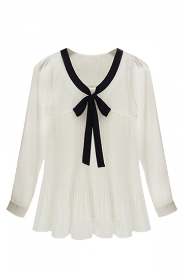 Womens Plus Size Bow Pleated Chic Blouse White