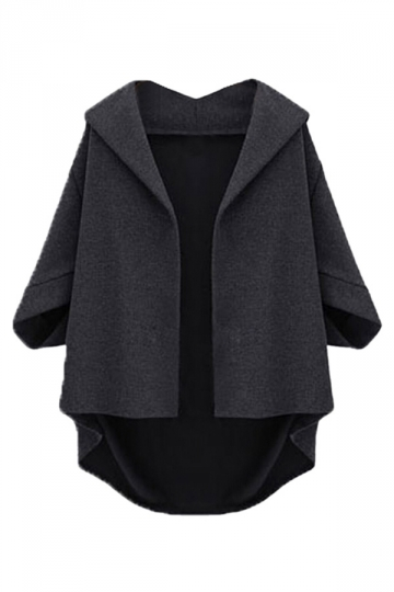 Black Irregularly Batwing Sleeve Pretty Womens Blazer
