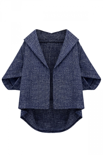 Navy Blue Irregularly Batwing Sleeve Pretty Womens Blazer