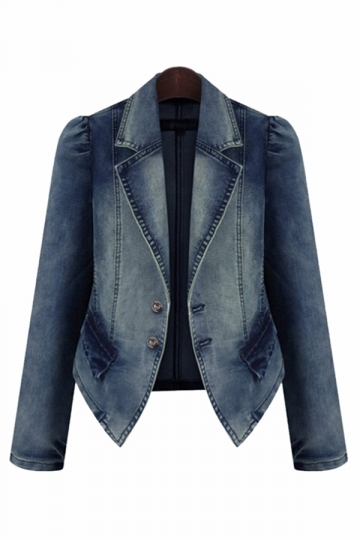 Blue Turnover Collar Long Sleeve Chic Womens Denim Blazer