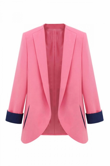 Pink Plus Size Color Blacking Elegant Fashion Womens Blazer