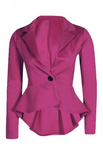 Ladies V Neck Irregular Ruffled Tunic Long Sleeve Blazer Rose Red