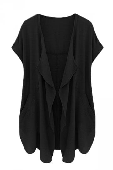 Womens Irregular Short Sleeve Casual Cardigan Pure Black