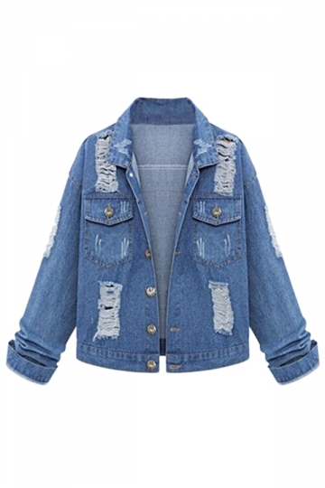 Womens Ripped Back Printed Bleach Wash Denim Jacket Blue