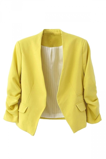 Womens Elegant Short Sleeve Pleated Blazer Yellow