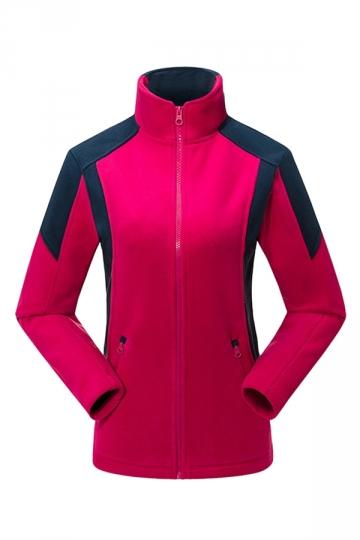 Ladies Color Blocking Zipper Trench Coat Rose Red