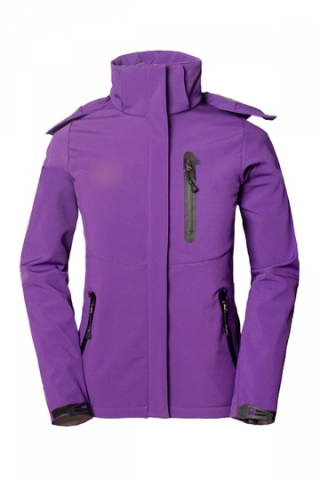 Ladies Zipper Hooded Cool Trench Coat Purple