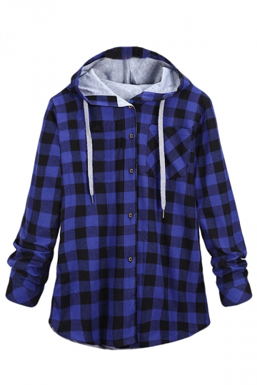 Womens Long Sleeve Single-breasted Plaid Hoodie Blue