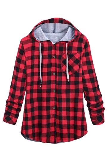 Womens Long Sleeve Single-breasted Plaid Hoodie Red