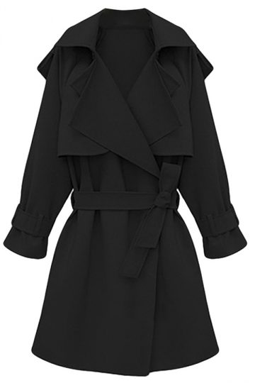 Womens Plus Size Turndown Collar Slimming Trench Coat Black