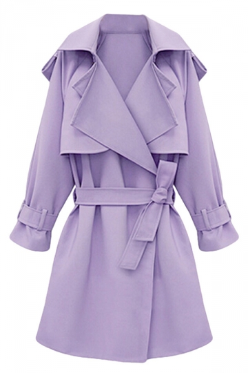 Womens Plus Size Turndown Collar Slimming Trench Coat Purple