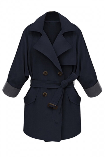 Womens Double-breasted Chic Trench Coat Navy Blue