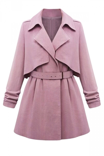 Womens Long Sleeve Turndown Collar Chic Trench Coat Purple