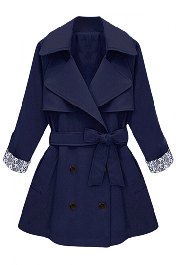 Womens Plus Size Double-breasted Chic Trench Coat Navy Blue