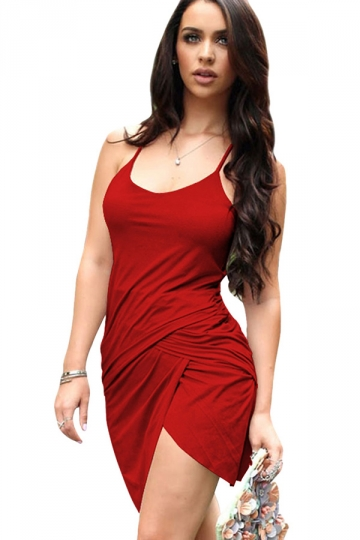 Womens Irregularly Pleated Spaghetti Strap Bodycon Dress Red