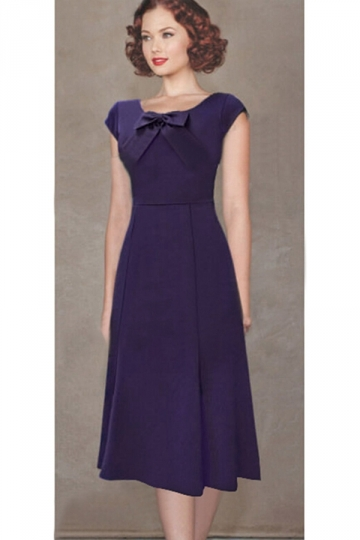 Purple Elegant Bowknot Ladies Crew Neck Midi Dress
