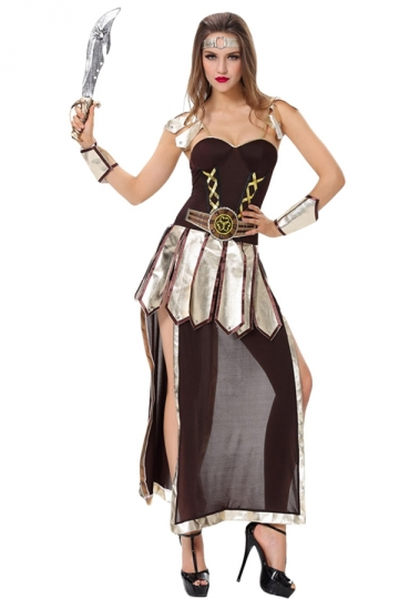 Womens Halloween Ancient Greek Warrior Costume Black