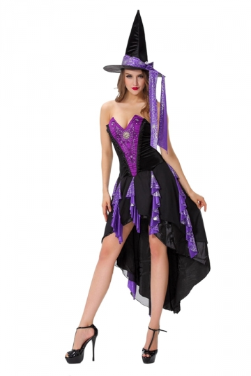 Womens High Low Off Shoulder Halloween Witch Costume Purple
