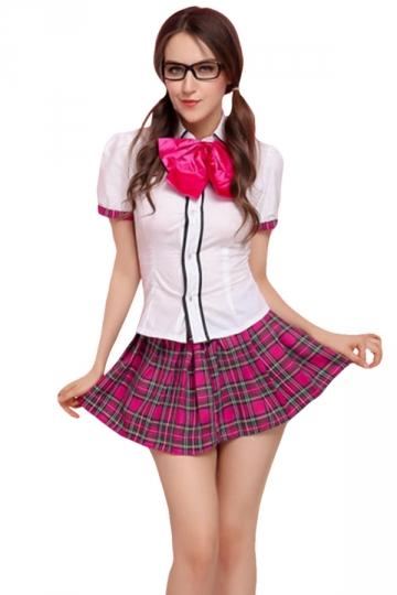 Womens Butterfly School Girl Halloween Costume White - PINK QUEEN