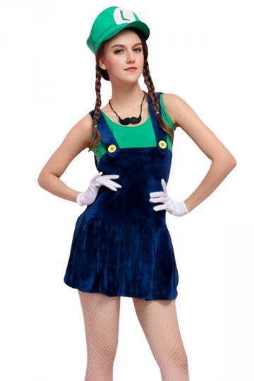 Womens Cartoon Halloween Costume Super Mario Green - PINK QUEEN