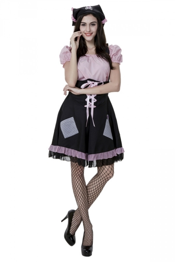 Womens Pleated Lace Up Halloween Maid Costume Black