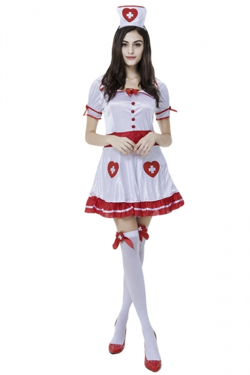 Womens Heart Sweet Halloween Nurse Costume White Pink Queen