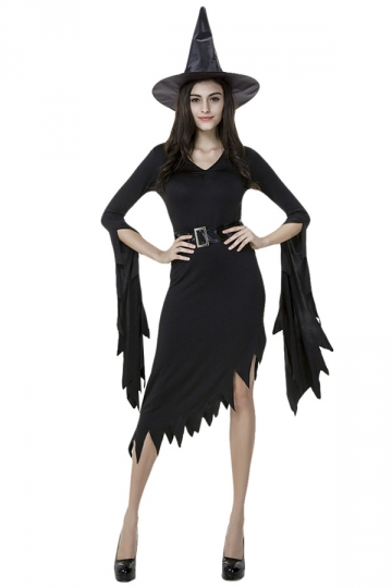 Womens Irregularly Long Sleeve Halloween Witch Costume Black ...