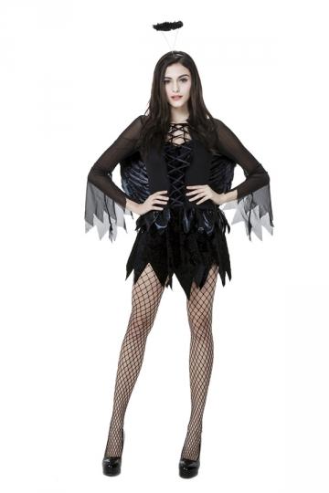 Womens Irregularly Halloween Dark Angle Costume Black