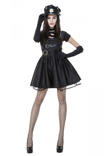 Womens Cut Out Cool Halloween Cop Costume Black
