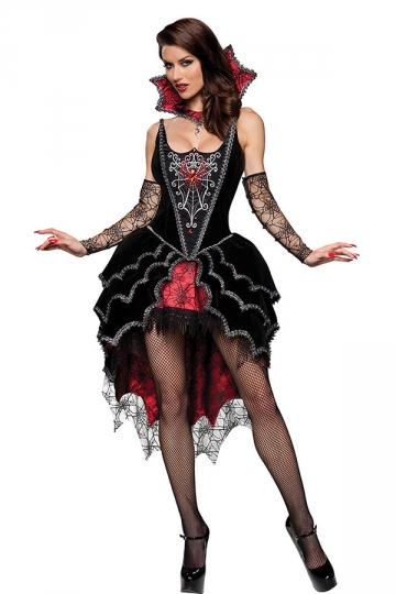 Womens Lace Sexy Halloween Vampire Costume Black - PINK QUEEN