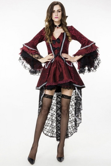 Womens Lace Sexy Halloween Vampire Costume Ruby